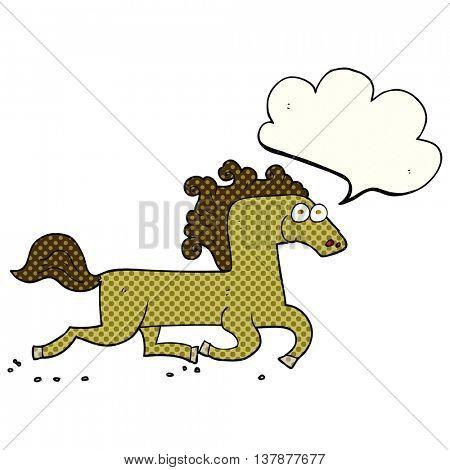 freehand drawn comic book speech bubble cartoon running horse