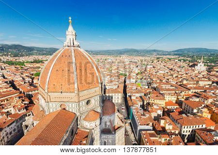 old town roofs with cathedral church Santa Maria del Fiore, Florence, Italy