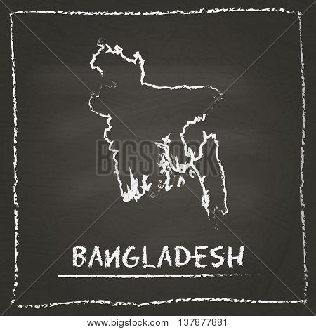 Bangladesh Outline Vector Map Hand Drawn With Chalk On A Blackboard. Chalkboard Scribble In Childish