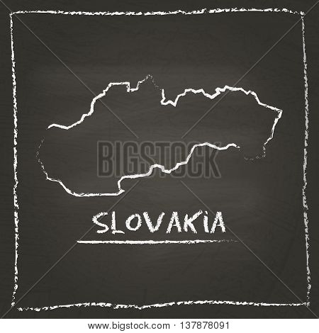 Slovakia Outline Vector Map Hand Drawn With Chalk On A Blackboard. Chalkboard Scribble In Childish S