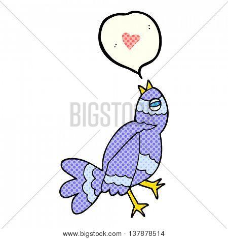 freehand drawn comic book speech bubble cartoon bird singing