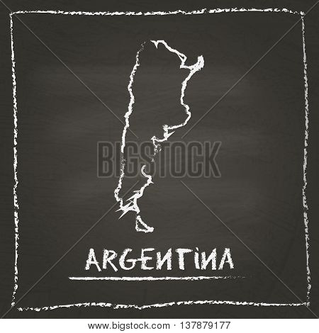 Argentina Outline Vector Map Hand Drawn With Chalk On A Blackboard. Chalkboard Scribble In Childish