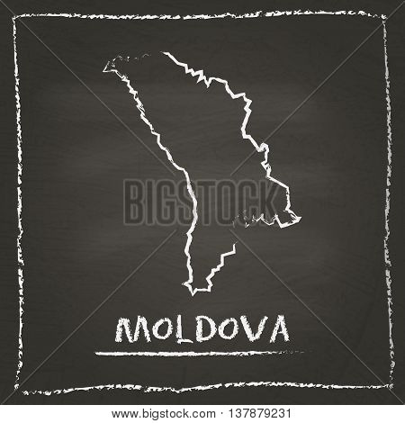 Moldova, Republic Of Outline Vector Map Hand Drawn With Chalk On A Blackboard. Chalkboard Scribble I