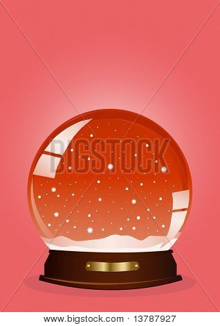 Vector illustration of a red snow globe against red background
