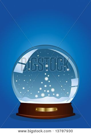 Vector illustration of a globe with falling snow in the shape of tree against blue background