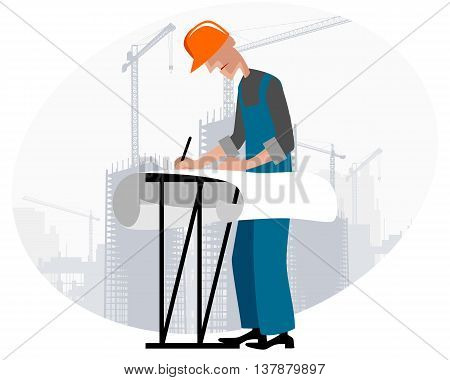 Vector illustration image of a builders at building site