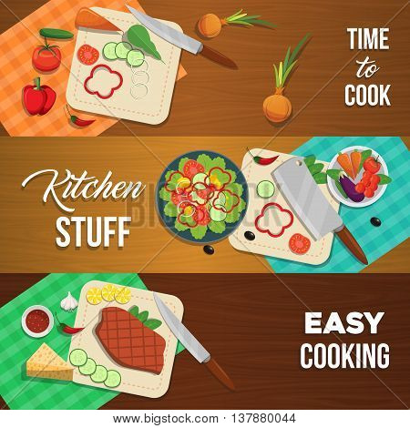 Three horizontal vegetables banner set with descriptions of time to cook kitchen stuff and easy cooking vector illustration