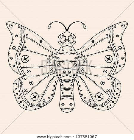 Tangle Patterns stylized Butterfly. Hand Drawn vector illustration Black, beige color. Sketch for tattoo or makhenda. Insect collection.