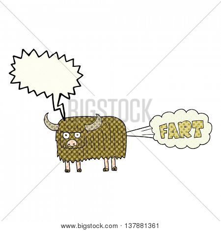 freehand drawn comic book speech bubble cartoon hairy cow farting