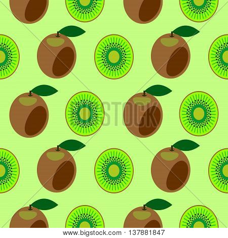 Seamless vector pattern bright fruits symmetrical background with kiwi whole and half over light green backdrop.