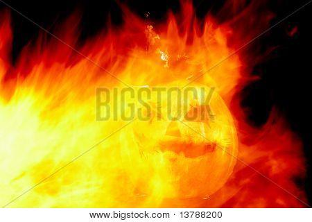 Imagem de abóbora de Halloween com chamas de fogo