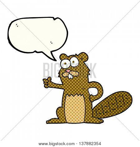 freehand drawn comic book speech bubble cartoon beaver