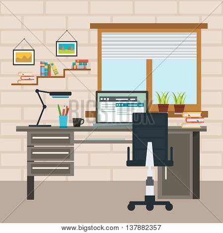 Designer colored working place composition with work desk and chancellery of required vector illustration