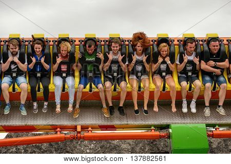 ZATOR,POLAND - JULY 9, 2016: People having fun on extremal high park attraction,