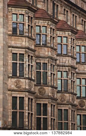 LONDON, UNITED KINGDOM - SEPTEMBER 11 2015: Architectural close up of a Victorian building in central London at the corner between Albemarle and Piccadilly streets