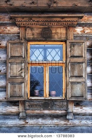 Window In Old Wooden Country House