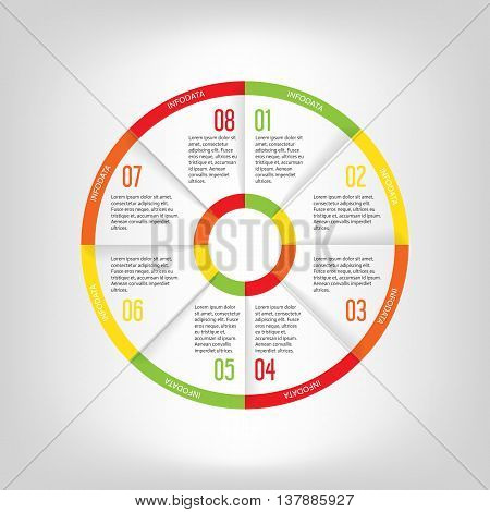 Infographic circle banner. Template for graph report presentation data visualisation cycling diagram round chart number options web design. 8 steps vector background.