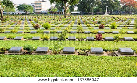 Kanchanaburi War Cemetery (Don Rak) is the historical monuments of the World War II who died during the construction of the Death Railway in Kanchanaburi Province Thailand 16:9 wide screen