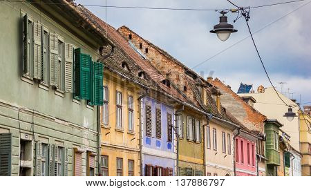 Colorful houses in the historical center of Sibiu Romania