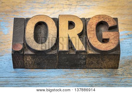 dot org internet domain for a nonprofit organization - text in vintage letterpress wood type blocks stained by color inks