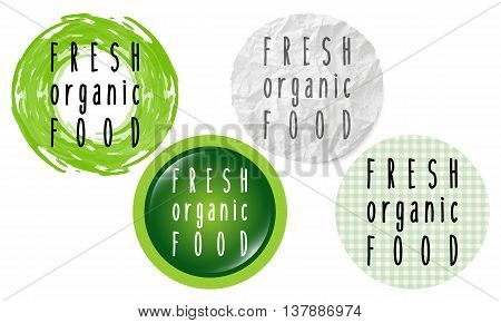 Set of four circular icons with the words fresh healthy food
