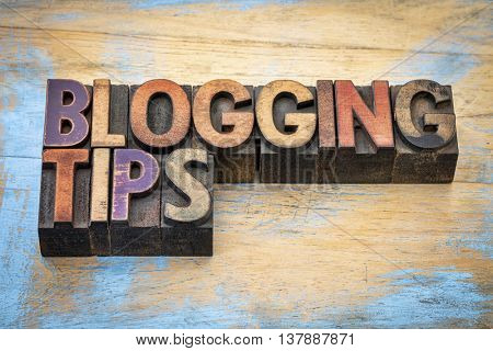 blogging tips - text in vintage letterpress wood type stained by color inks