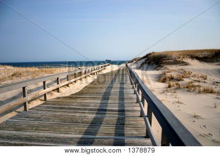 Boardwalk To Winter Beach - New Jersey