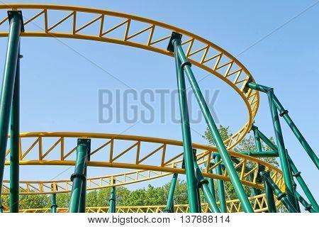 Roller coaster against blue sky in amusement park
