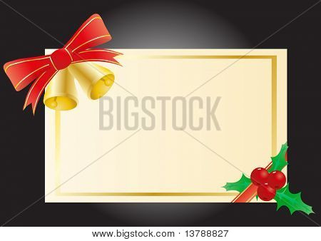 Vector illustration of a Christmas card with bells and mistletoe