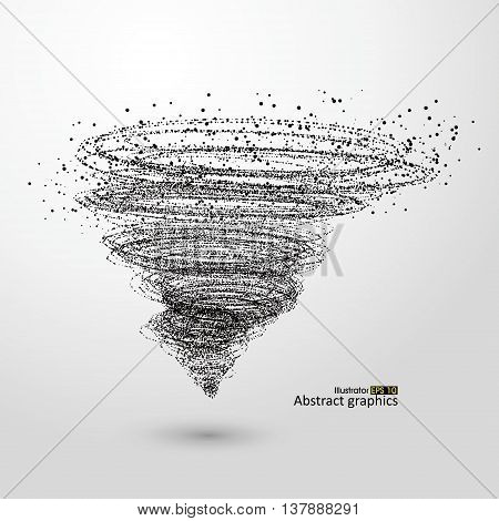 Vector Tornado, particle affects, abstract concept, illustration.