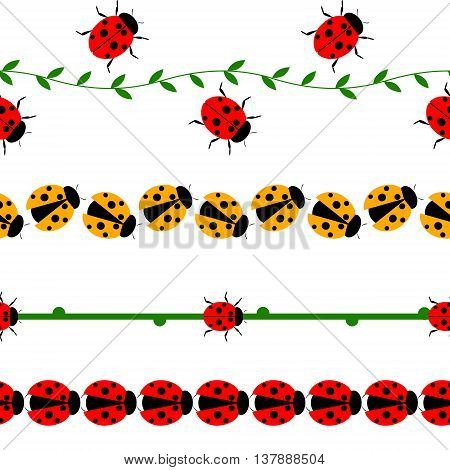Vector seamless line with insects. Set of elements for design borders with ladybugs branches and leaves isolated on the white background.