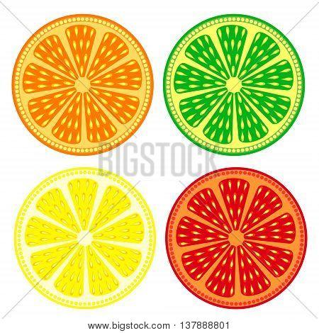 Fruits vector set of citrus: orange lime lemon grapefruit detailed icons? isolated over white background
