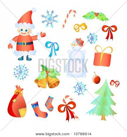 Vector illustration of collection of Christmas elements