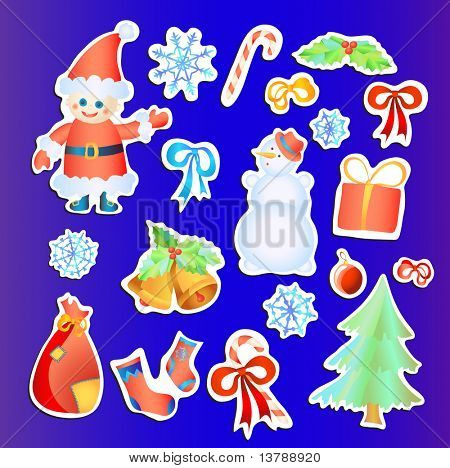 Vector illustration of collection of Christmas stickers