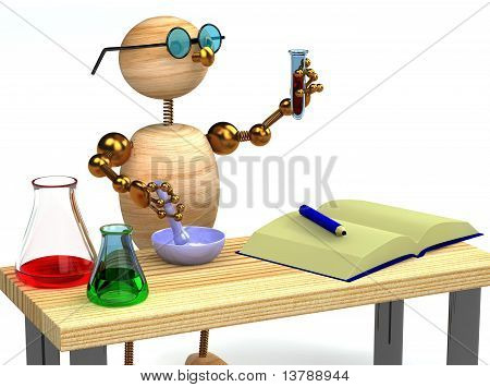3D Wood Man As Chemist Holding Tube