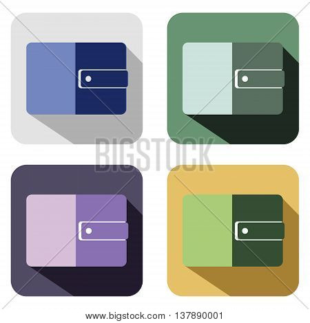 Vector icon. Set of colorful icons of purse isolated on the white background