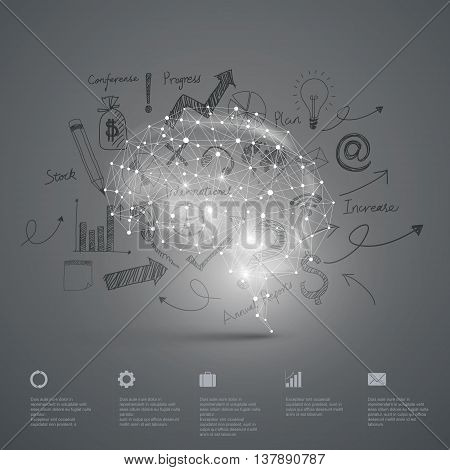 Vector Graphics, Information chart, brain abstract background.