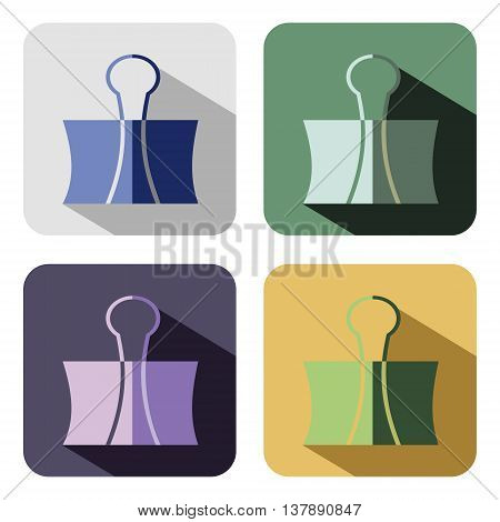 Vector icon. Set of colorful icons of paper clip isolated on the white background