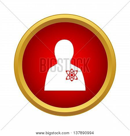 Astronomer icon in simple style in red circle. Science and scientists symbol