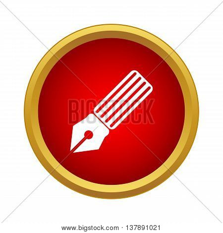 Pen ink icon in simple style in red circle. Painting symbol