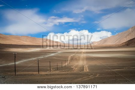 Endless mountain road through the high central Tibetan plateau, Tibet, China