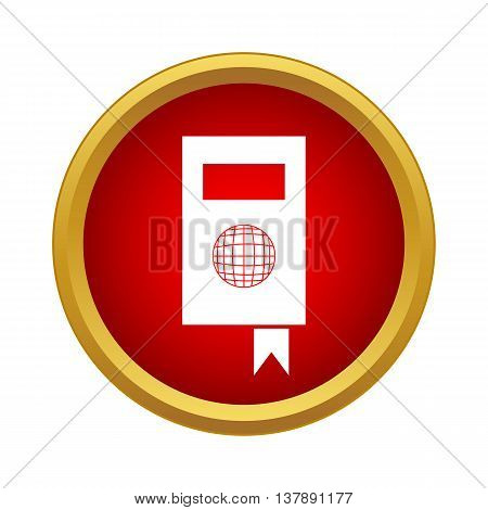 Tutorial icon in simple style in red circle. Information and training symbol