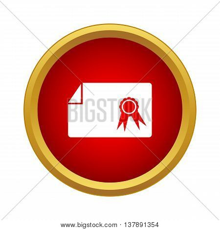 Diploma icon in simple style in red circle. Documents symbol