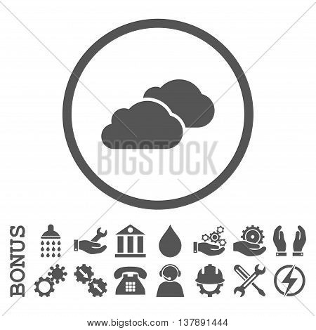 Clouds vector icon. Image style is a flat pictogram symbol inside a circle, gray color, white background. Bonus images are included.