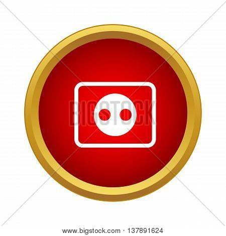 Outlet icon in simple style in red circle. Electricity symbol