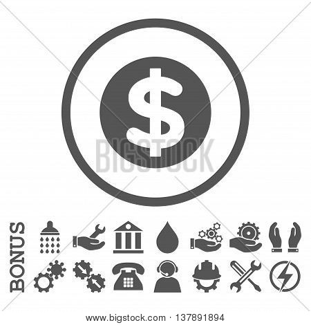Finance vector icon. Image style is a flat pictogram symbol inside a circle, gray color, white background. Bonus images are included.