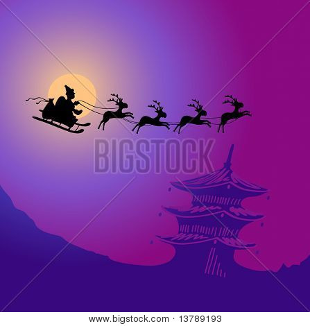 Vector illustration of Santa Claus with reindeers flying over China