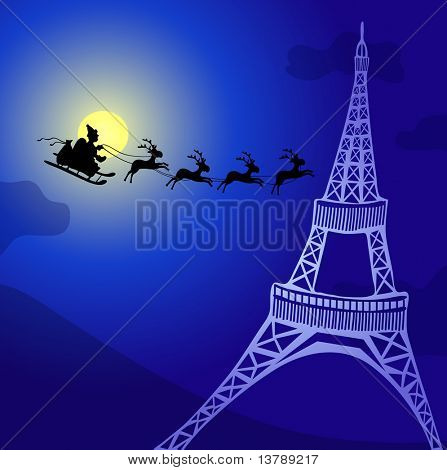 Vector illustration of Santa Claus with reindeer flying over France