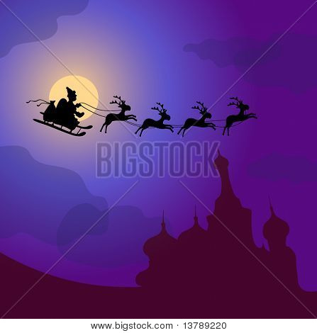 Vector illustration of Santa Claus with reindeers flying over Russia