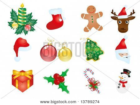 Vector illustration of Christmas elements isolated on a white background